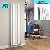 ELEGANT 1800 x 452 mm Designer Vertical Column Radiator White Double Flat Panel