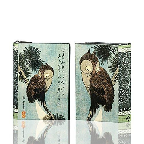 Enchanted World of Boxes Art Masterpiece Collection Kleinen Kiefer Braun Eule auf Einem AST von Utagawa Hiroshige Deko Box Buch Small Blau/Braun (Bücherregal Asiatisches)