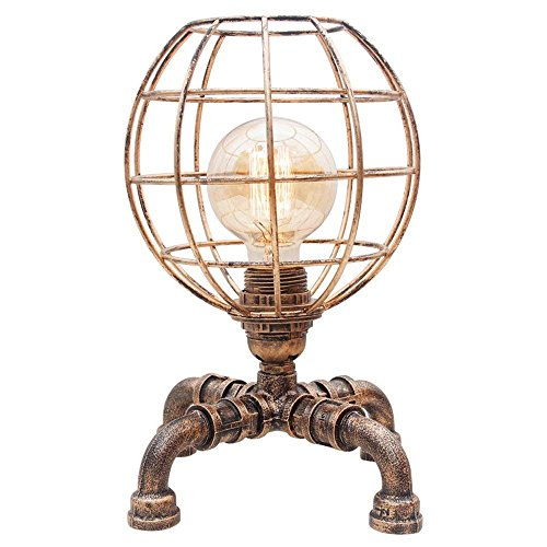 Preisvergleich Produktbild WSXXN Retro Steampunk Eisen personalisierte Eisen Käfig Tischlampe kreative Metall Wasser Rohr Schreibtisch Lampe Schlafzimmer Nacht Buchhandlung E27 Schreibtisch Licht