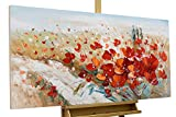 KunstLoft® Acryl Gemälde 'Flammende Blüten' 120x60cm | original handgemalte Leinwand Bilder XXL | Blumen flammend Deko rot | Wandbild Acrylbild moderne Kunst einteilig mit Rahmen