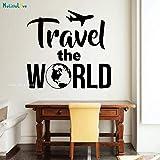 Patrón de tierra Etiqueta de la pared Viajar por el mundo Decoración del hogar Salón Extraíble Arte Plano Calcomanías Murales Viajero 60x56 cm