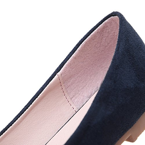 dqq Femme avec nœud Bout Pointu Chaussures plates Bleu - Bleu marine