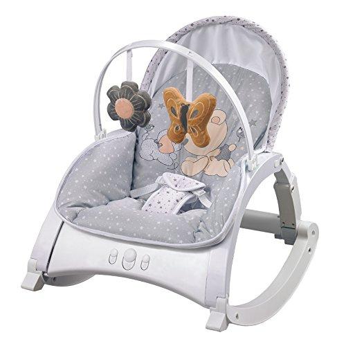 Lorelli Babywippe und Stuhl ENJOY mit Vibration, Musik, verstellbare Rückenlehne grau
