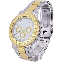 Men's Stainless Steel Golden Silver Tone Wristband Watches Quartz Wrist Watch