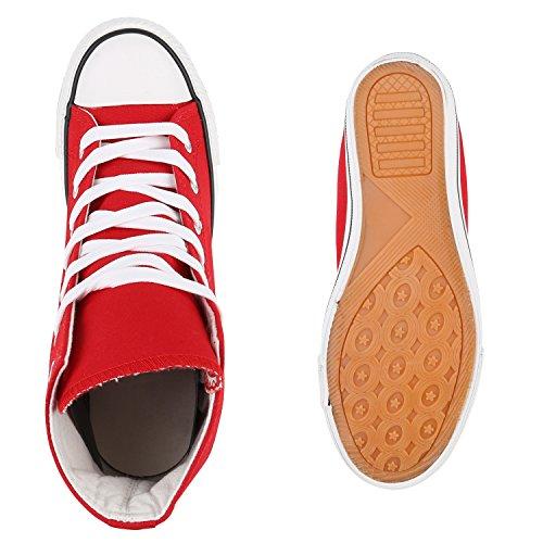 Damen Sneakers Stoff | Sneaker Wedges Blumen | Camouflage Sneaker Keilabsatz | Details Schuhe Zipper Denim Rot