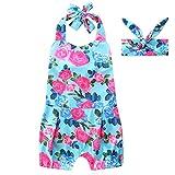 SCFEL VestiSCFEL neonato infantile OutfitsBambino Halter backless Outfits floreali con Heandband (3-6 Mesi)