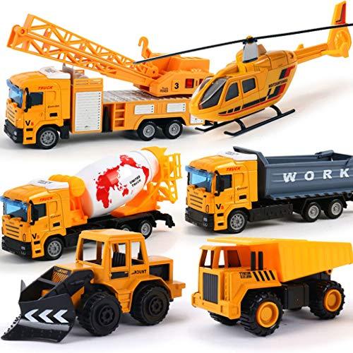 Zurückziehen Fahrzeuge , Baufahrzeuge Rennwagen Spielzeug Spielset , Gesamt 6 Mini Diecast Trucks Bagger Bulldozer Schneepflug Dump Mixer Hubschrauber, Jungen und Mädchen spielen Bau Spiel Kleine Auto