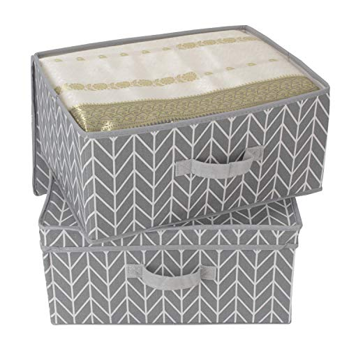 HomeStorie Canvas Storage Box with Lids, Large(Grey) - Pack of 2