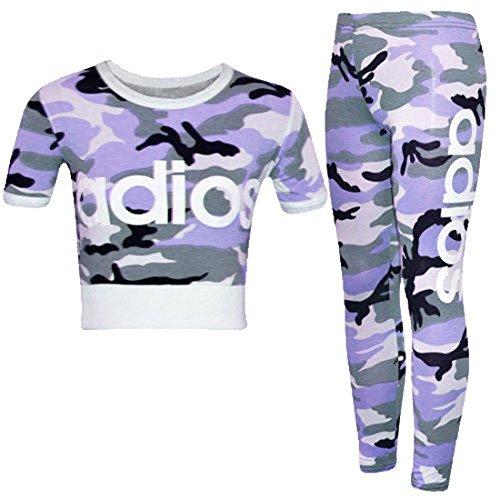 New Kids Girls Adios Camouflage Military Army Crop Top & Legging Age 2-13 Years (9-10 Years, Adios Purple)