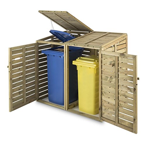 Waldbeck Ordnungshüter Mülltonnenbox kiefer 2 Tonnen Mülltonnenverkleidung aus Kiefernholz (240 l, Hebekette, FSC-zertifiziert) braun - 4