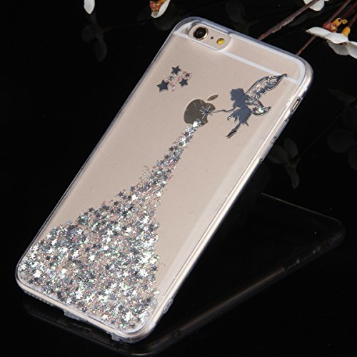 iPhone 6S Hülle,iPhone 6 Hülle,iPhone 6/6S Silikon Hülle Tasche Handyhülle,SainCat Giraffe Muster Ultra dünne Silikon Hülle Schutzhülle Durchsichtig Hadytasche Stoßfeste TPU Gel Case Bumper Weiche Cry Engel-Silber