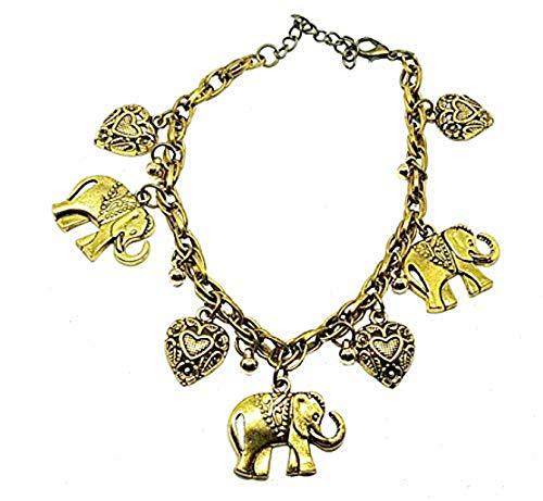 PICCOLI MONELLI Damen-Armband für Damen Fortuna mit Anhänger Elefant und Herz Farbe Gold