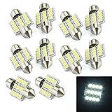 SODIAL(R) 10 LAMPADINE AUTO SILURO LUCI 12 LED SMD BIANCO 31MM