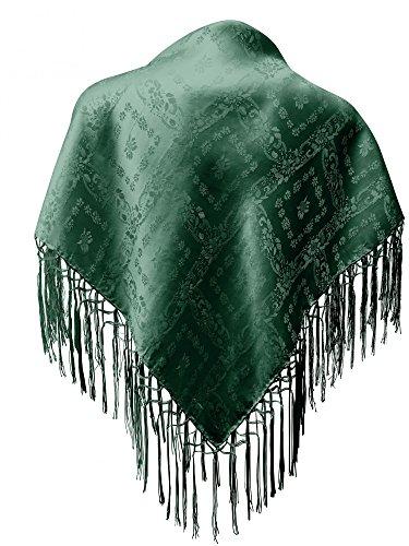 Trachten Mayr Seidentuch Dirndl-Trachtentuch Tuch grün 75 x 75cm Dirndltuch Seide Fransentuch für Tracht Trachtenseidentuch mit Fransen Schultertuch Halstuch silk clouth hochwertigste Qualität!