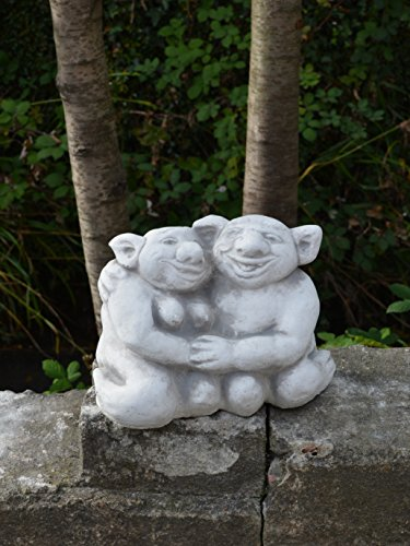 Lustiger Troll Opa und Oma aus Steinguss, frostfest - 5