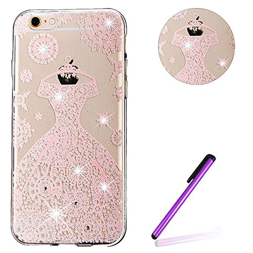 iPhone 6S Plus Hülle Glitzer,iPhone 6S Plus Hülle Silikon,Transparent Crystal Clear TPU Case Hülle Klare Ultradünne Silikon Gel Schutzhülle Durchsichtig Rückschale Etui für iPhone 6 6S Plus,Clear Hüll S TPU 13