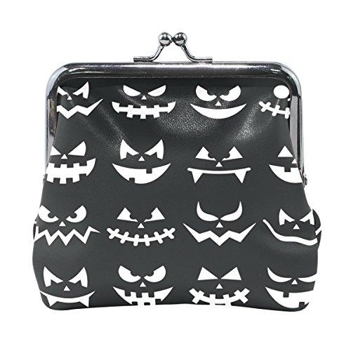en Kürbis Gesichter auf schwarzem Hintergrund Leder Geldbörse Clutch Münzbörse (Kürbisse Halloween-hintergrund)