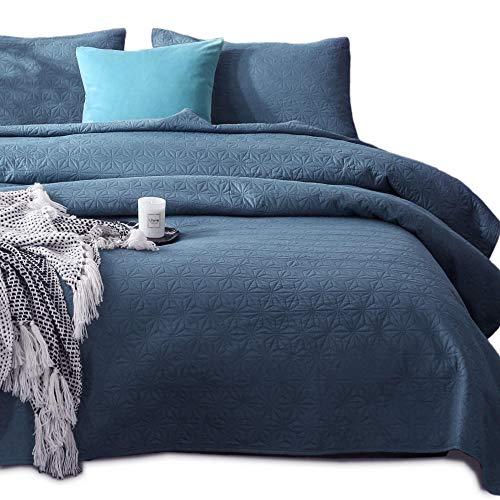 KASENTEX Bettwäsche-Set - vorgewaschen, luxuriöse Mikrofaser, weich, warm, einfarbig, Tagesdecke - modernes Design Queen + 2 Shams Natural Bluestone Star - Cottage Standard-quilt