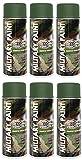 6er Sparpack MILITÄR Army Militärlack Lackspray 400ml Nato freie Farbauswahl (6 Dosen in olive-grün RAL 6003)