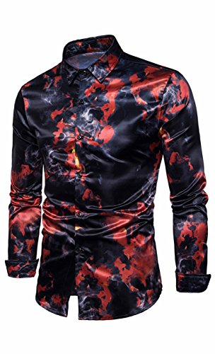 (SUProcer Herren Shiny Slim Button mit Langen Ärmeln Kleid Shirts Kostüme Shirt Dance Top)
