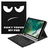 Fintie Bluetooth Tastatur Hülle kompatibel mit iPad 9.7 2018, Soft TPU Rückseite Abdeckung Keyboard Case mit eingebautem Apple Pencil Halter und magnetisch Abnehmbarer drahtloser Tastatur, Don't Touch