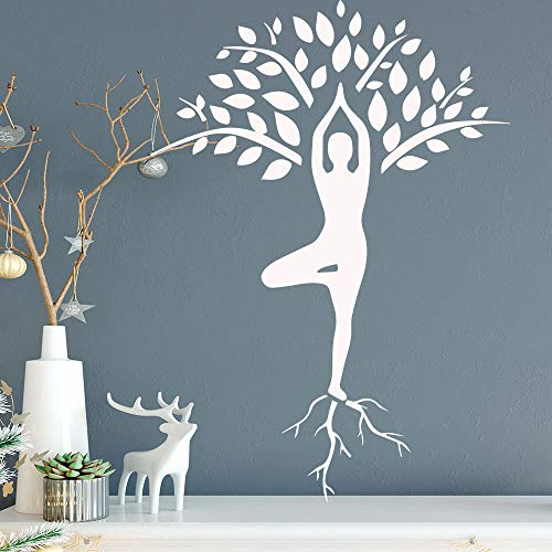 Slender Woman Yoga Pose Wall Sticker Tree Pattern Decoration Girl Bedroom Wall Sticker Detachable Vinyl Wall Painting Blue M 30cm X 41cm