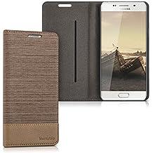 kwmobile Housse flip case pour Samsung Galaxy A5 (2016) pochette cover bookstyle en simili-cuir et textile en sable marron
