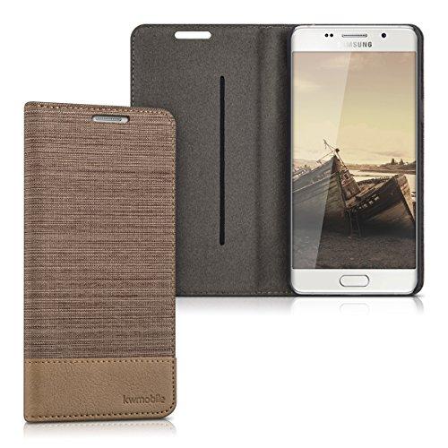 kwmobile Flip Hülle Case für Samsung Galaxy A5 (Version 2016) - Schutzhülle Cover Bookstyle aus Kunstleder und Textil in Sand Braun