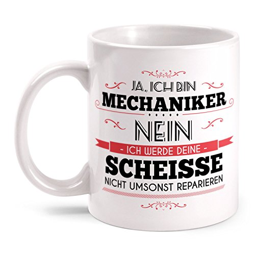 Fashionalarm Tasse Mechaniker beidseitig bedruckt mit Spruch & Totenkopf Motiv | Lustige Geschenk Idee für Kfz Mechaniker Auto Schrauber Beruf, Farbe:weiß