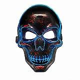 Rolytoy VraiJouet LED Máscara Halloween, Cráneo Mascaras, 3 Modos de LED Flash Ajustable Halloween Carnaval Fiesta Disfraz Cosplay Decoración (Azul)