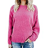 Save 50%~YANG YI Clearance Offer !!! Women's Casual Solid V Neck Knitted Loose Long Sleeves Tshirts/T-Shirts Tops Pullover