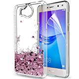 Coque Huawei Y6 2017 Etui,Coques Téléphone Y6 2017 Étui avec Film de protection écran HD, LeYi Liquide Paillette Brillante 3D Flottant Sables Mouvant Transparente TPU Gel Silicone Bumper Antichoc Protection Coques Etuis Y6 2017 Souple and Hard Housse Te