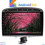 Hi-azul Android 8.0 In-Dash 9 Zoll Autoradio RAM 4G ROM 32G Car Radio 8-Core GPS Autonavigation Kopfeinheit Car Stereo mit 2.5D Gebogene Anzeige für Peugeot 308 (2008-2010) (mit Rückfahrkamera)