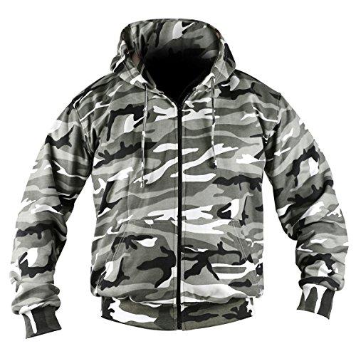 Kombat UK–Chaqueta de camuflaje sudadera con capucha con cremallera, hombre, color Urban,...
