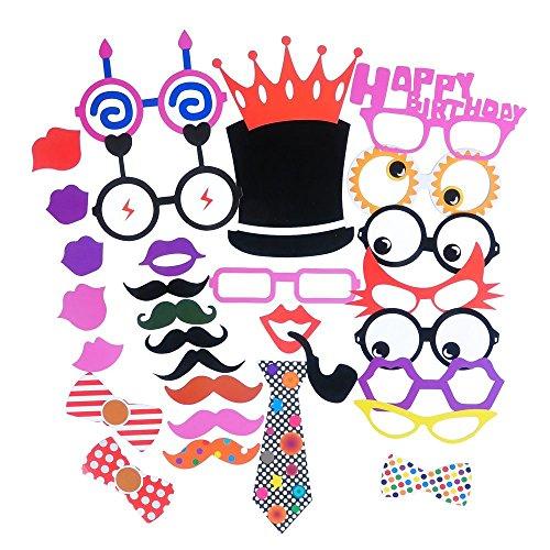 (zeroshop (TM) 31pcs Photo Booth Props DIY Kit für Geburtstag, bunten Schnurrbart Gläser Kabelbinder Lippen Krone Rohr Augen Hat und HAPPY BIRTHDAY Schild)