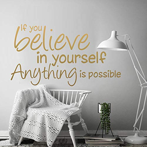 WWYJN Believe In Yourself Motivation Quote Vinyl Wall Stickers for Office Decoration Mural Kids Bedroom Living Room Houe Decor Black L 43cm X 23cm