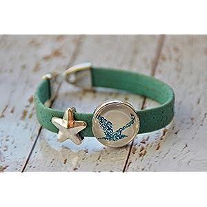 Armband aus Kork Vegan Möwe türkis Anker Glas
