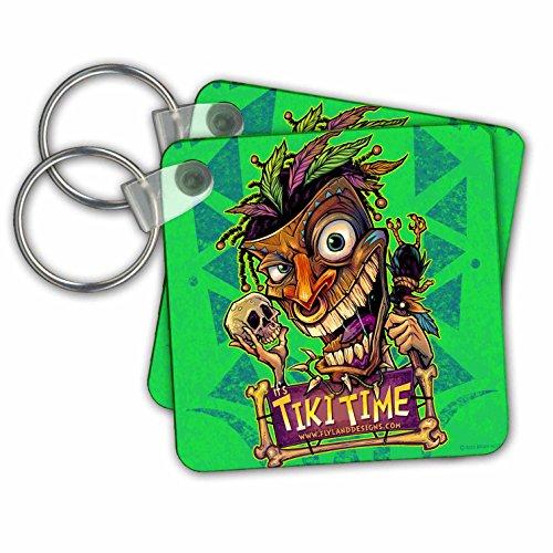 3drose Tiki Voodoo Kerl mit Totenkopf und Krähe–Schlüssel Ketten, 5,7x 5,7cm Set 2Stück (KC 252469_ 1)