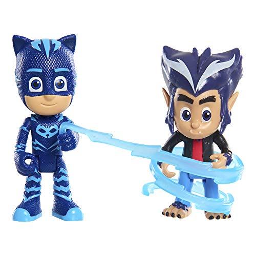 PJ Masks - Pack 2 Figuras con Luz Villano Gatuno Y Wolfie How, (Bandai JPL95261)