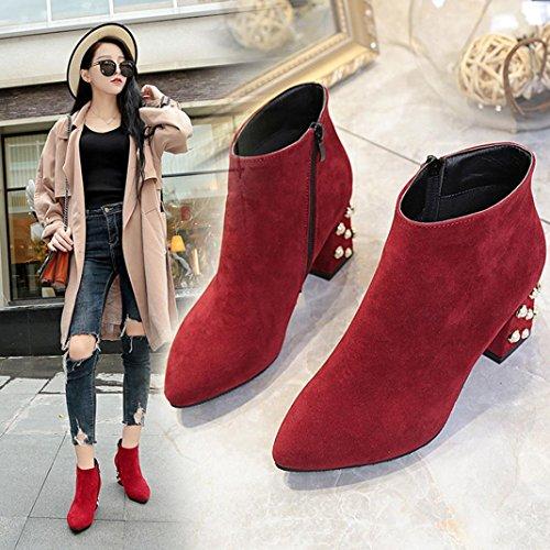 SOMESUN Women's Spring Casual Shoes Heel Ankle Boots, Scarpe Casual Da Donna Primavera Decorazione Di Perle Stivaletti Tacco Quadrato Red