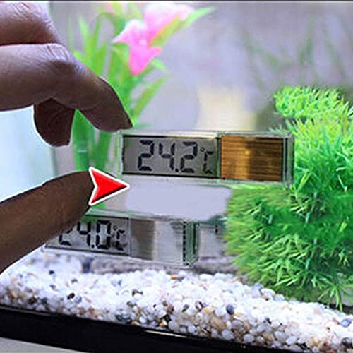 Comtervi Aquarium Thermometer, Aquarium 3D Digital Elektronisches Thermometer Aquarium LED Extern Angebrachte Kristall Sensor Energiesparende Wasser Temperatur Meter