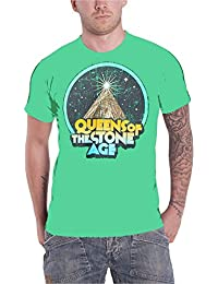 Queens Of The Stone Age Space Mountain band Logo Herren Nue Grün T Shirt
