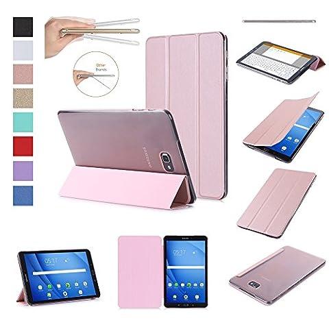 ISIN Housse pour Tablette Série Premium PU Cuir Smart Coque Étui pour Samsung Galaxy Tab A 10.1 SM-T580N T585N Android 6.0 Marshmallow Tablet (Or Rose)