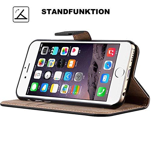 iMonster Tasche für iPhone 5C Book Style Case Design 2 Kartenfach Etui Hülle Wallet Stand Funktion Flip Cover Handyhülle Handy Schutzhülle Bumper Schutz Zubehör Handytasche Pink SCHWARZ