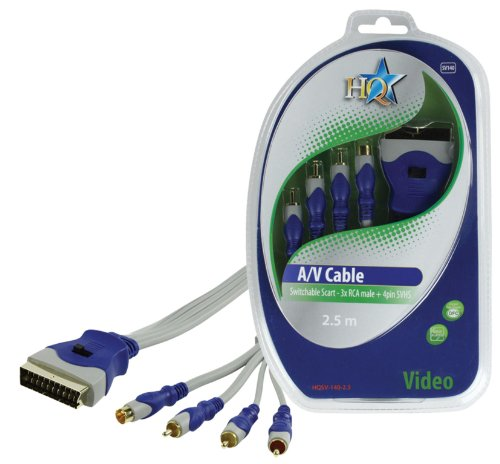 HQ SV-140-2.5 - adaptadores de cable de vídeo (SCART (21-pin), 3 x RCA + S-Video, Macho/Macho, Oro, Azul, Gris, Fibra óptica)