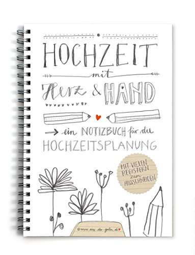 Hochzeitsplaner, Weddingplaner, NOTIZBUCH (KEIN RATGEBER!) im schönen Kalligrafie Design mit vielen Registern zum selbst ausschneiden, grau weiß beige, A5