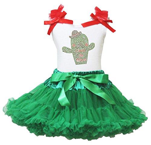 Cinco De Mayo Kleid Kaktus Weiß Baumwolle Shirt Kelly Grün Rock Girl Outfit-74bis 122 Gr. Small, Mehrfarbig