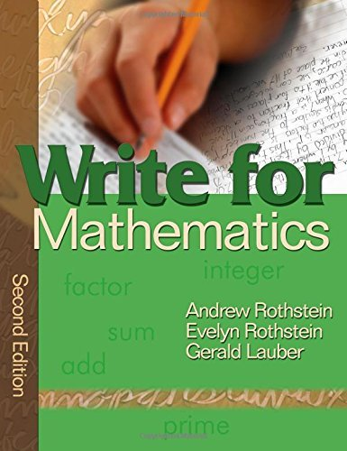 Write for Mathematics by Andrew S. Rothstein (2006-08-18)