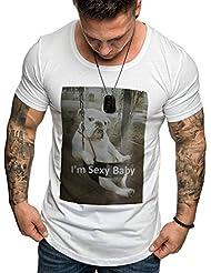 Nuevo Camiseta Hombre Deportes Imprimiendo Camisetas Hombre de Manga Corta Top Camisa Casual Slim Fit Chándal