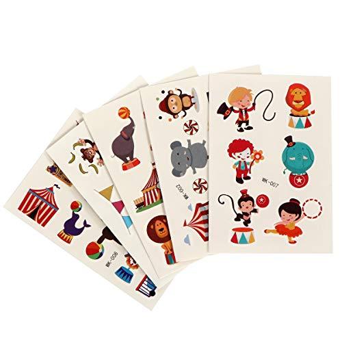 INVOKER Aufkleber für Kinder & Kleinkinder Zirkus Zoo Theme Aufkleber Kinder Inklusive Lion Clown Lion Elephant Jonglierzeltticket etc